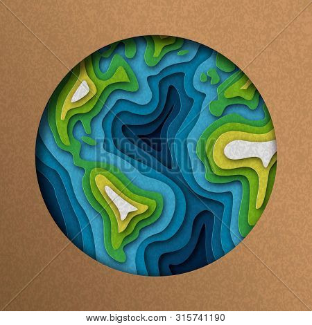 Earth illustration of green papercut world map. Layered paper cutout for planet conservation. poster