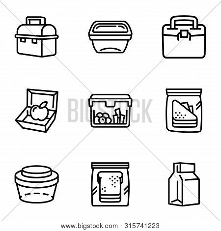 Food Lunch Box Icon Set. Outline Set Of 9 Food Lunch Box Vector Icons For Web Design Isolated On Whi