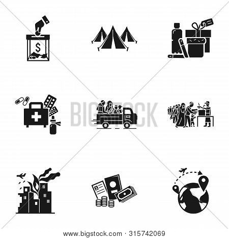 Refugees Help Icon Set. Simple Set Of 9 Refugees Help Vector Icons For Web Design Isolated On White