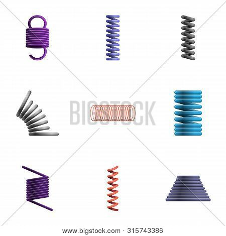 Spring Coil Icon Set. Cartoon Set Of 9 Spring Coil Vector Icons For Web Design Isolated On White Bac
