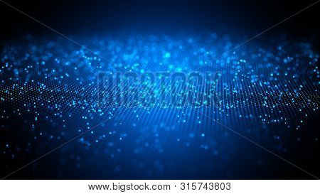 Digital technology background. Network with glowing light blue dots structure. Big data cloud, 3d illustration. Blockchain network concept. Futuristic data flow.