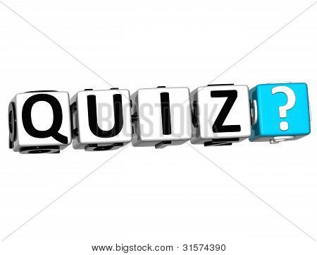 3D Quiz Block Text  On White