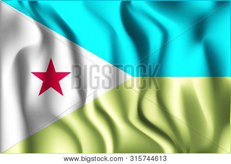 Flag Of Djibouti. Rectangular Icon. Waving Effect. Vector