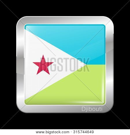 Flag Of Djibouti. Glossy And Metal Icon Square Shape. Vector