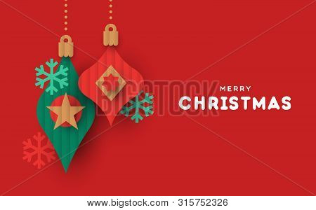 Merry Christmas Greeting Card Illustration Of Papercut Holiday Baubles. Festive Paper Craft Xmas Orn