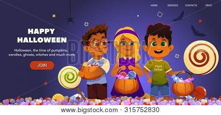 Halloween Landing Illustration With Trick Or Treating Kids. Candy On Background. Pumpkin Bag. Web Si