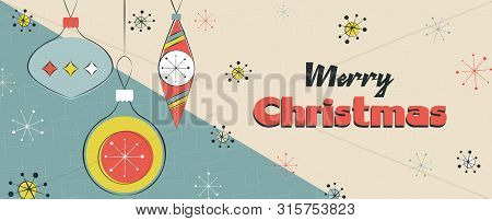 Merry Christmas Banner Illustration Of Vintage Mid Century Bauble Decoration