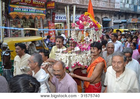 Carrying Lord Shiva Hatkeshwar out for journey into the city