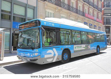 Madrid Spain - May 27, 2019: Public Bus In Madrid Spain