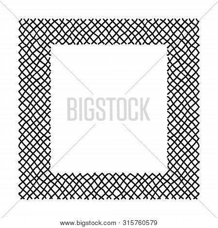 Scribble Hatching Criss Cross Along The Rim Frame Square. Hand Drawn Symbols. Sketches Shaded And Ha