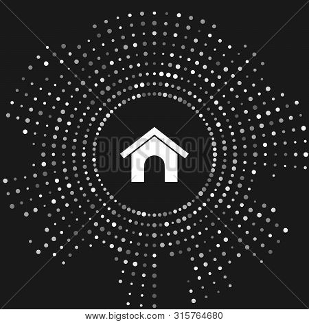 White Dog house icon isolated on grey background. Dog kennel. Abstract circle random dots. Vector Illustration poster
