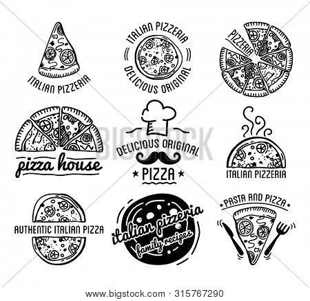 Pizza Label Design Typographic Set. Pizza festival or pizzafest. Vintage food pizza logos templates for restaurant.  Illustration.