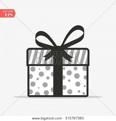 Illustration Of Gift Box Icon On Background. Christmas Gift Icon Illustration Vector Symbol. Present