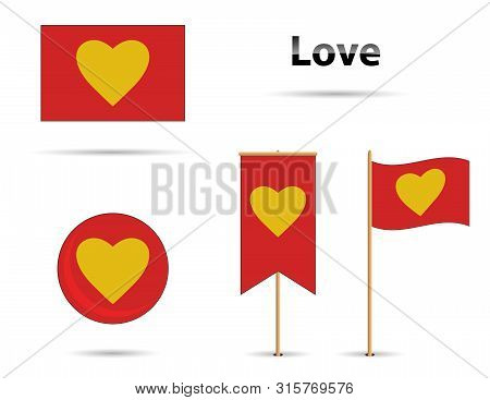 Red And Yellow Love Flag Set, With Text