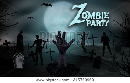 Zombie In The Cemetery. Zombie Hand Rising Out From The Ground At The Graveyard With Tombstones And