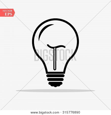 Bulb Light Vector Icon. Lighting Electric Lamp. Electricity, Shine. Light Bulb Icon Vector, Isolated