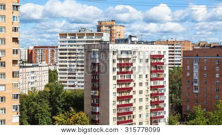 Panoramic View Of Residential District With High-rise Houses In Moscow City In Sunny Summer Day