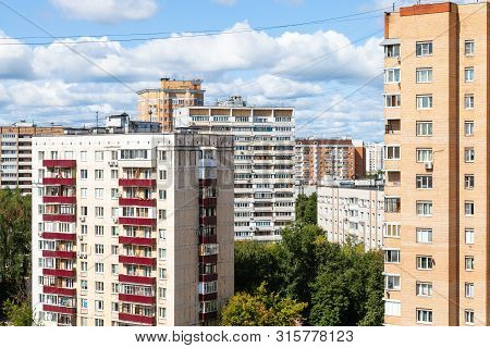 Residential District In Moscow City In Sunny Summer Day