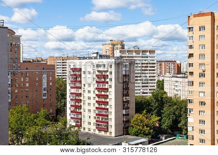 Residential District With High-rise Houses In Moscow City In Sunny Summer Day