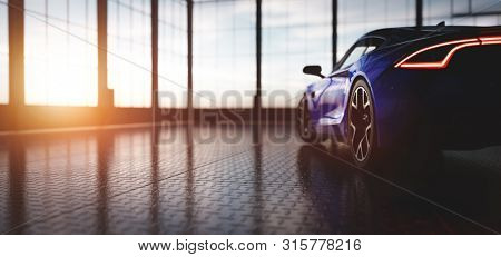Modern blue coupe sports car in showroom with big windows. View from its back. 3D illustration