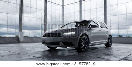 Modern compact car in warehouse daylight. Rent a car, buy and sell concepts. Generic and brandless yet contemporary and elegant look. 3D illustration