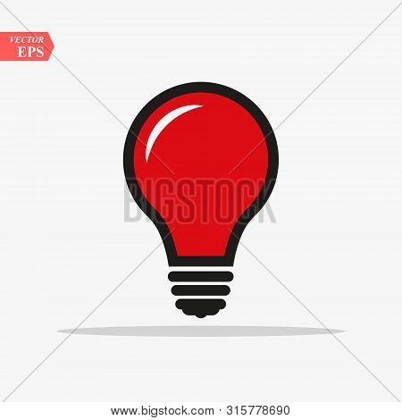 Red Bulb Light Vector Icon. Lighting Electric Lamp. Electricity, Shine. Light Bulb Icon Vector, Isol