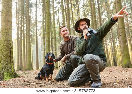 Two hunters with binoculars and with hound as hound on the stalk in the forest