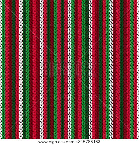 Christmas Sweater Striped Knitted Seamless Pattern Vector Design. Red Green White Winter Jumper Knit