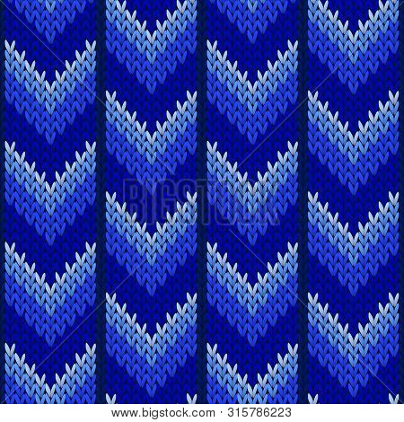 Christmas Sweater Geometric Knitted Seamless Pattern Vector Design. Blue Winter Jumper Knitwear Fabr