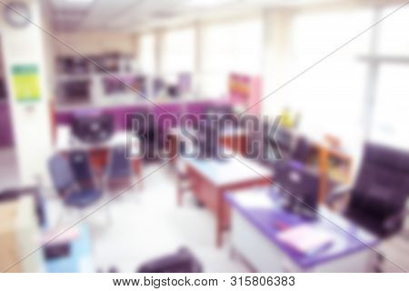 Abstract Blurr People Lecture In Seminar Room, Education Concept,blurry Instructor Teaching In Schoo