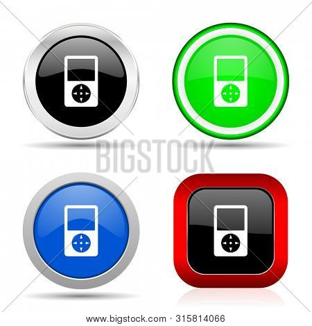 Music player red, blue, green and black web glossy icon set in 4 options