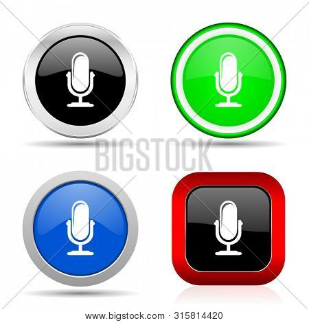Microphone red, blue, green and black web glossy icon set in 4 options