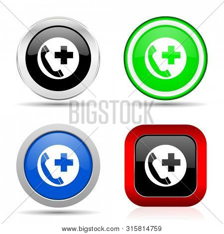 Emergency call red, blue, green and black web glossy icon set in 4 options