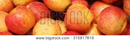 Pile Of Red Apple Fruit. Beautiful Red Apple Fruit