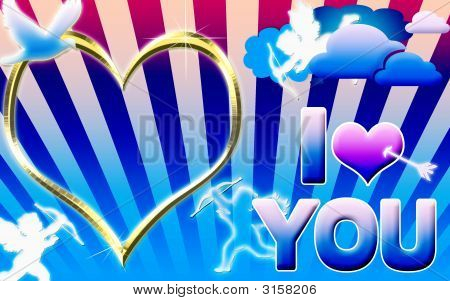 I Love You Gold Frame And With Sunny Background