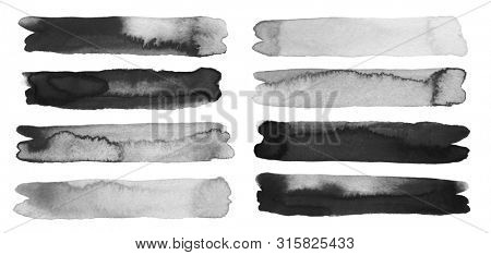 Abstract watercolor and acrylic line brush stroke blot painting. Black and white Color design element. Texture paper. Isolated on white background. Collection.