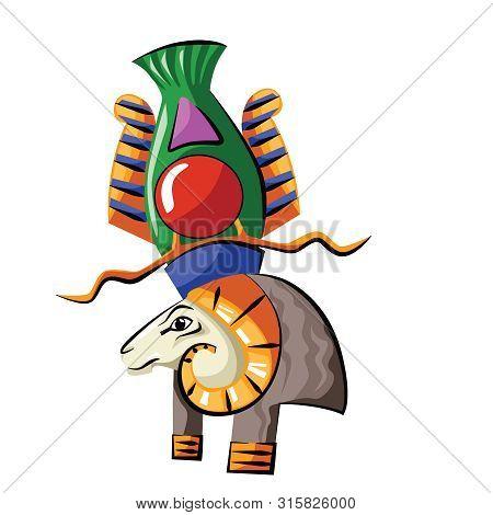 Ancient Egypt Head Of God Source Of Nile Khnum Cartoon Vector. Egyptian Culture Religious Symbol, Ra
