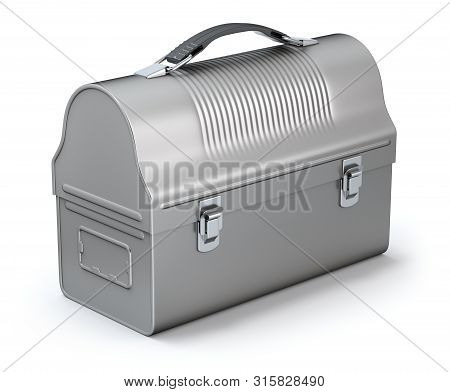 Vintage Lunch Box On White Background - 3d Illustration