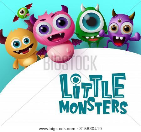 Cute Little Monster Characters Vector Background Template. Little Monsters Text In Empty White Space