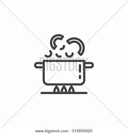 Boiling Pan On Fire Line Icon. Cooking Instructions Linear Style Sign For Mobile Concept And Web Des