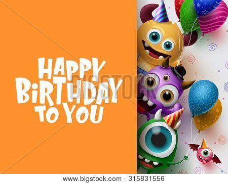 Happy Birthday Greeting Card Vector Background Template. Cute Little Monster Characters Wearing Part