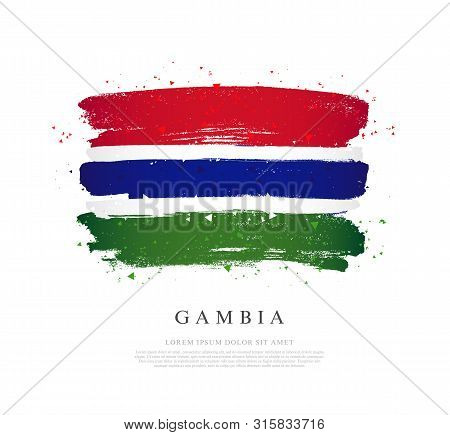 Gambia Flag. Vector Illustration On A White Background. Brush Strokes Are Drawn By Hand. Independenc