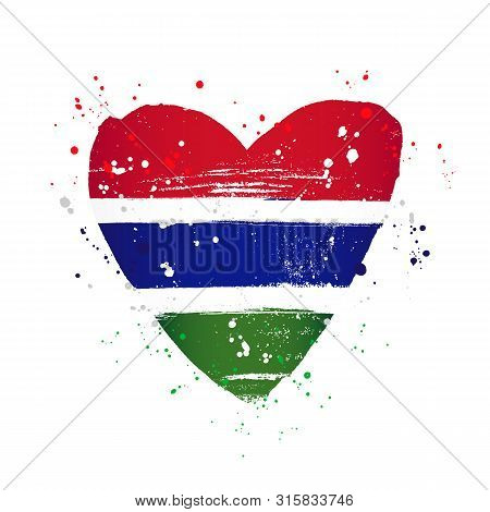 Gambian Flag In The Form Of A Big Heart. Vector Illustration On A White Background. Brush Strokes Ar