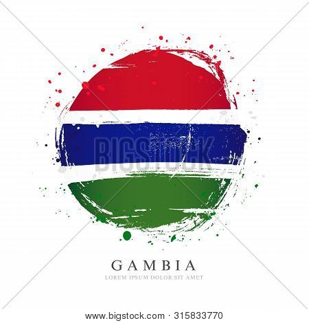 Gambian Flag In The Shape Of A Big Circle. Vector Illustration On A White Background. Brush Strokes