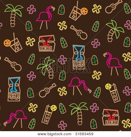 Tiki Hawaii seamless pattern