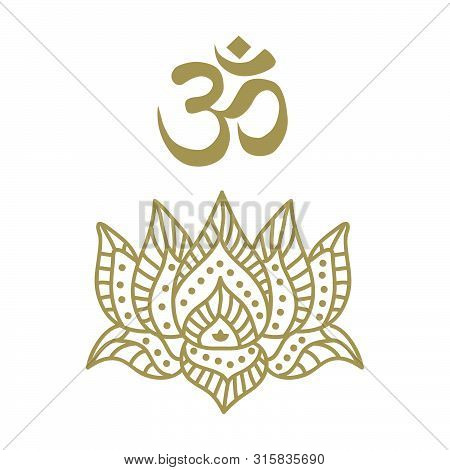 Lotus Flower And Om Symbol, Vector Graphic Design Element