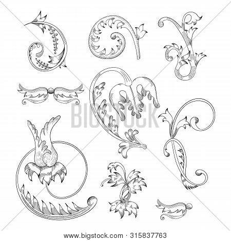Vintage Vector Set. Floral Elements For Design Monograms, Invitations, Frames, Menus And Labels.