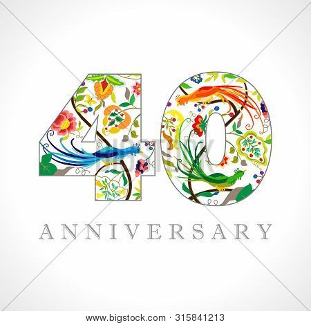 40 Years Old Logotype. 40 Th Anniversary Numbers. Decorative Symbol. Age Congrats With Peacock Birds