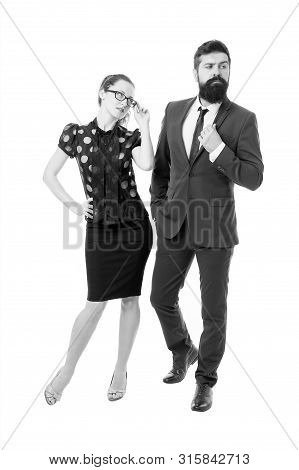 Sexy Secretary And Manager. Love Concept. Man And Woman Business Colleagues. In Love With Ceo. Offic
