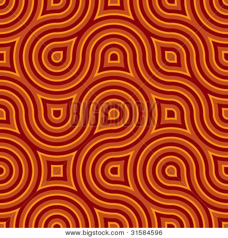 Funky Wild Circle Seamless Pattern Orange Red